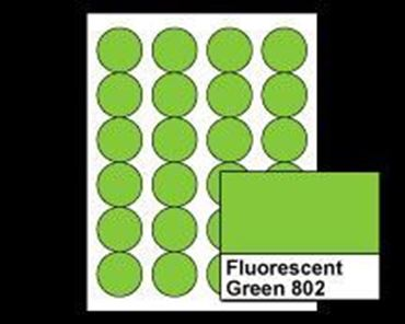 "Picture of 1-2/3"" Circle Laser Labels, Fluorescent Green 802, 24/Sheet"