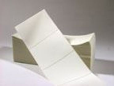"Picture of 6.5"" X 4"" Thermal Transfer Labels, White, Fanfolded"