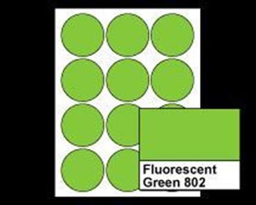 "Picture of 2-1/2"" Circle Laser Labels, Fluorescent Green 802, 12/Sheet"