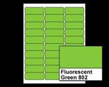 "Picture of 2-5/8"" X 1"" Laser Labels, Fluorescent Green 802, 30/Sheet"